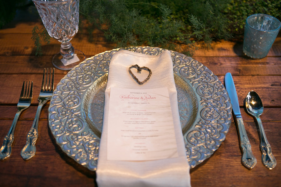 Heart Wedding Reception Table Accent on White Ivory Napkin and Silver Vintage Charger on Wooden Farm Table | Boho Chic Wedding Ideas and Inspiration