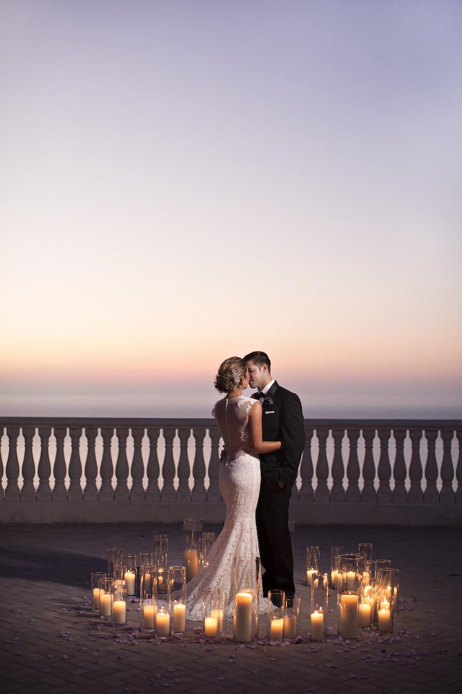 Sunset Candlelit Wedding Portrait | Clearwater Beach Wedding Venue Hyatt Regency | Wedding Planner Special Moments Event Planning | Djamel Photography