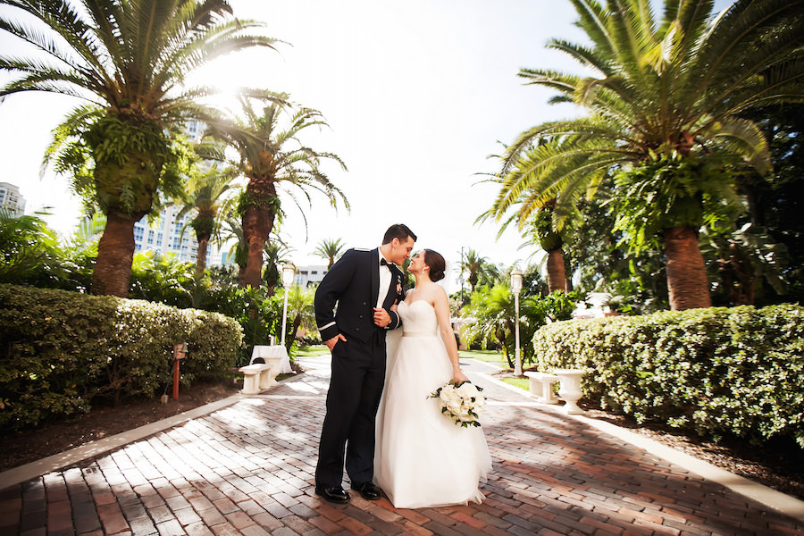 Military Bride and Groom Outdoor Wedding Portrait in Tropical Gardens | St. Petersburg Wedding Photographer Limelight Photography