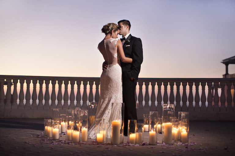 Sunset Candlelit Wedding Portrait | Clearwater Beach Wedding Venue Hyatt Regency | Wedding Planner Special Moments Event Planning | Djamel Photography