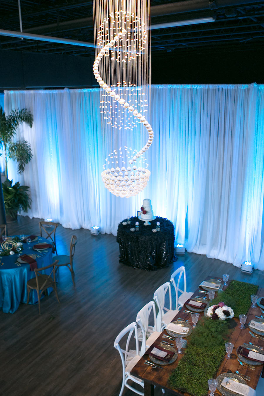 White French Country Chairs with Wooden Farm Tables and White Draping | Modern Wedding Reception Decor Ideas and Inspiration | Tampa Wedding Venue Ivy Astoria | Chair and Table Rentals A Chair Affair