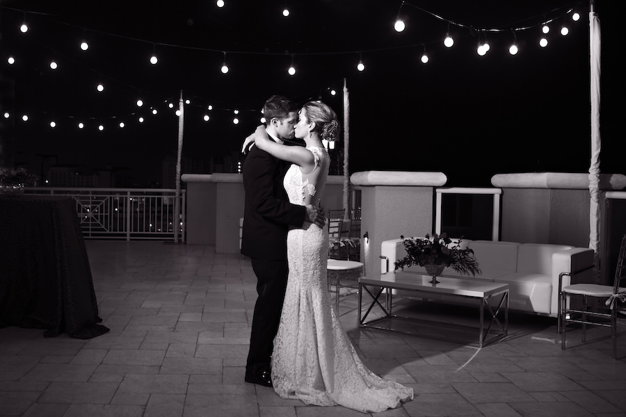 Bride and Groom First Dance | Clearwater Beach Wedding Venue Hyatt Regency | Wedding Planner Special Moments Event Planning | Market Lighting by Gabro Event Services | Djamel Photography