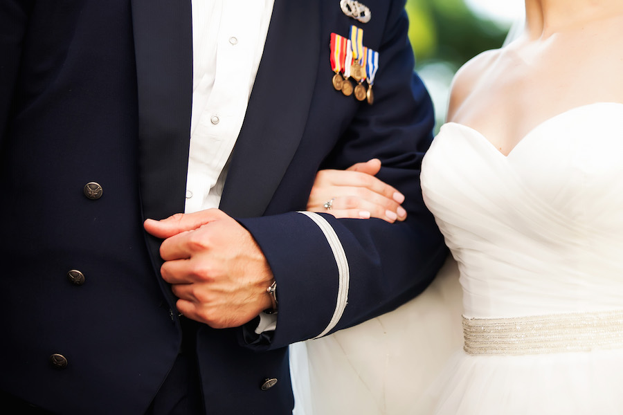 Air Force Bride and Groom Outdoor Wedding Portrait | St. Petersburg Wedding Photographer Limelight Photography