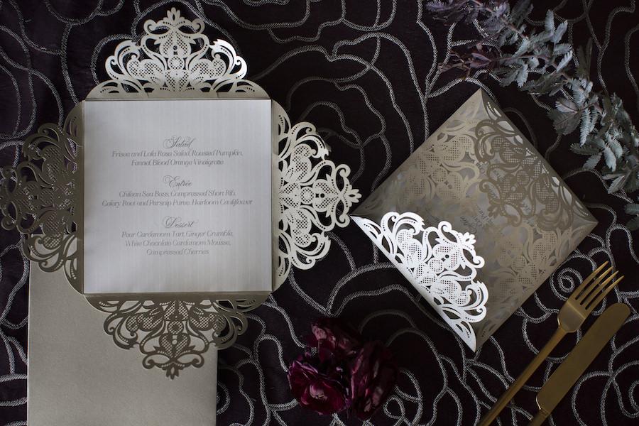 Silver Lace Scalloped Wedding Menu Stationery