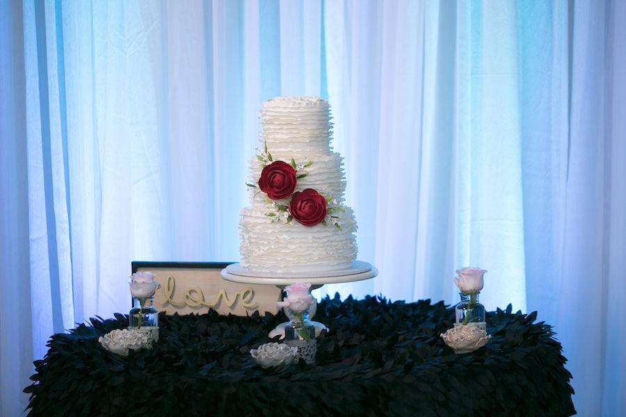 White Textured Ruffled 3-Tier Round Wedding Cake on Black Specialty Linen | Wedding Cake Dessert Table Ideas & Inspiration