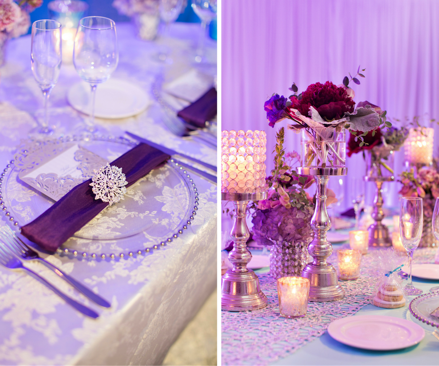 Beaded Glass Charger with Silver Wedding Menu and Purple Napkin with Rhinestone Holder | Purple and Deep Red Centerpieces with Candles | Wedding Reception Ideas & Inspiration