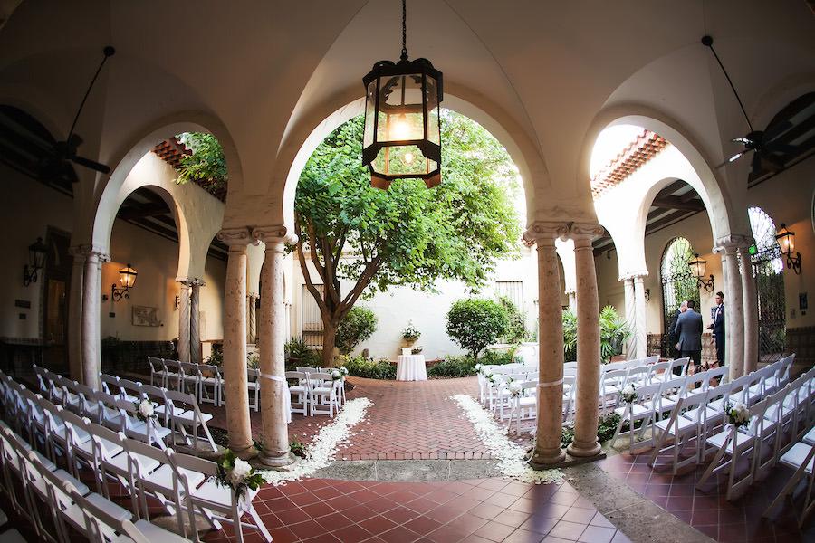 Romantic, Modern Outdoor Garden Wedding Ceremony Venue St. Pete Museum of Fine Art | St. Petersburg Wedding Photographer Limelight Photography