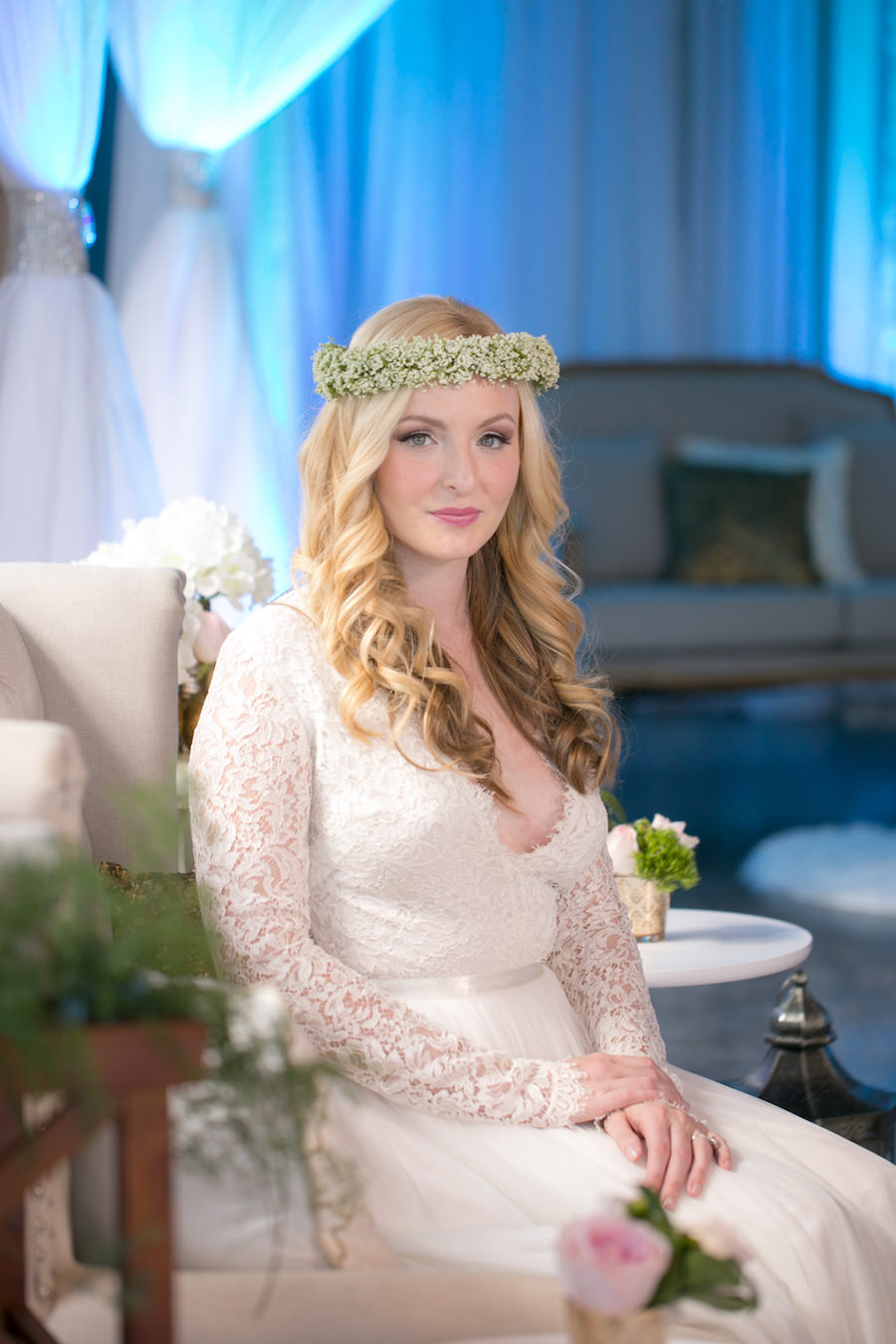 Boho Bride with Baby's Breath Floral Crown | Long Sleeved Lace Wedding Dress from the The Bride Tampa | Boho Wedding Reception Decor Ideas and Inspiration | Tampa Wedding Photographer Carrie Wildes Photography