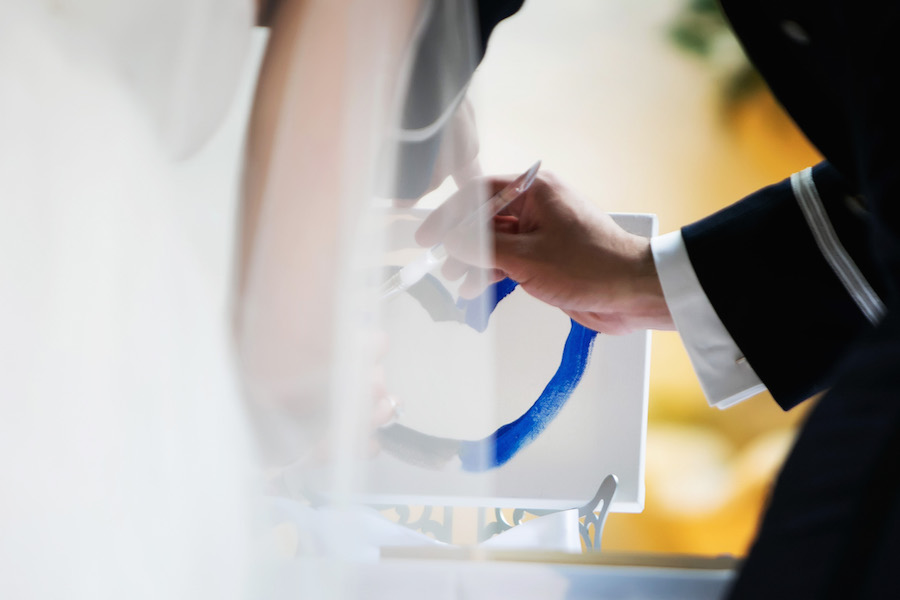 Bride and Groom Wedding Ceremony Unity Painting | St. Pete Wedding Photographer Limelight Photography