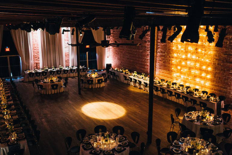 Black, White and Gold Wedding Reception with Wood Floors and Brick Walls | Modern St. Pete Wedding Venue NOVA 535