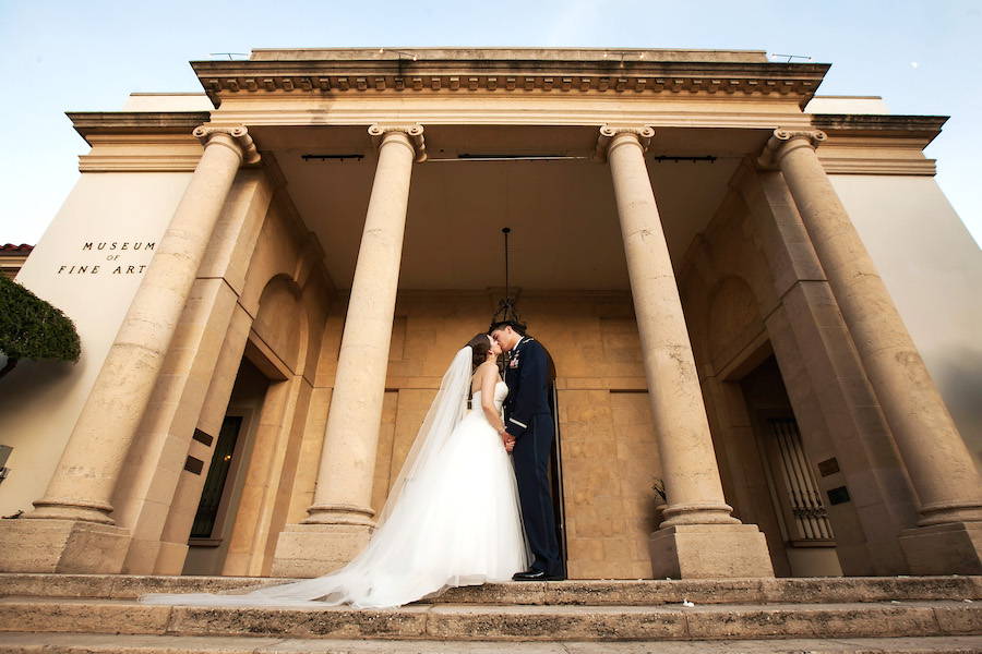Bride and Groom Outdoor Wedding Portrait at Downtown St. Pete Wedding Venue Museum of Fine Art | St. Petersburg Wedding Photographer Limelight Photography