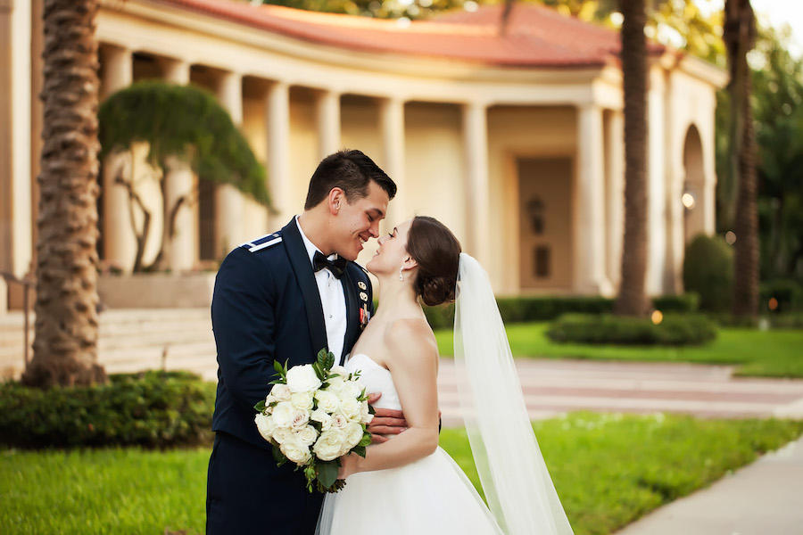 Military Bride and Groom Outdoor Wedding Portrait at Wedding Venue MOFA | St. Petersburg Wedding Photographer Limelight Photography
