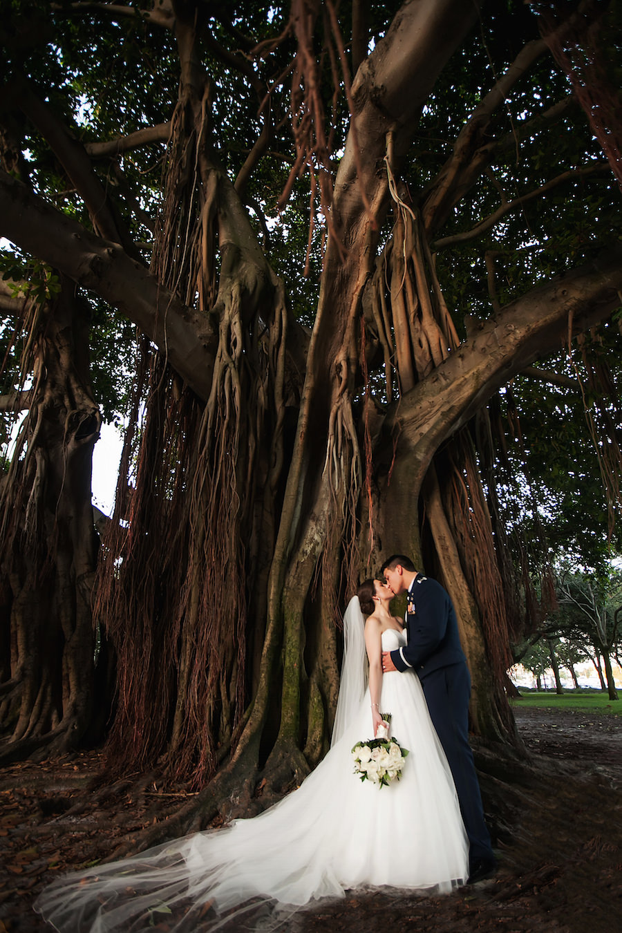 Bride and Groom Outdoor Vinoy Park Wedding Portrait Under Banyan Tree | St. Petersburg Wedding Photographer Limelight Photography