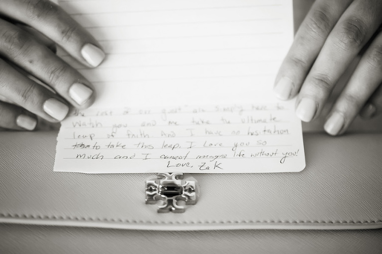 Getting Ready: Groom's Note To Bride on Wedding Day Portrait