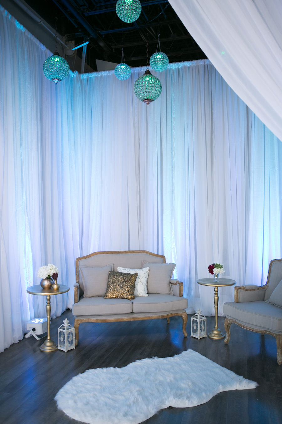 Vintage Gold Couch and Upholstered Furniture with White Draping | Modern Wedding Reception Decor Ideas and Inspiration