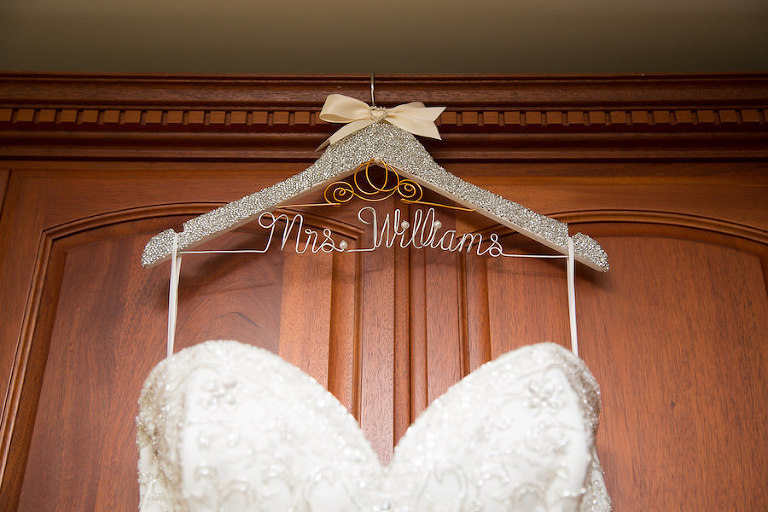 Ivory, Beaded Strapless Wedding Dress on Personalized Wedding Hanger