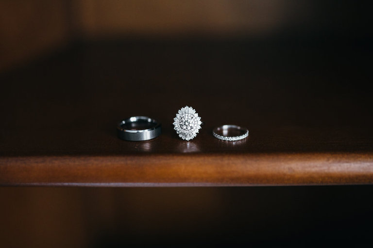 Bride and Groom Wedding and Art-Deco Inspired Engagement Rings