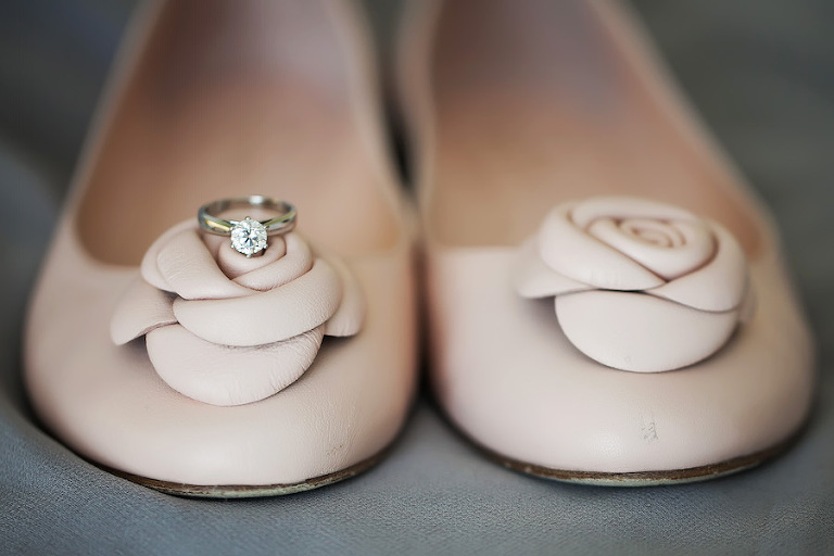 Blush Pink Kate Spade Rosette Ballet Flat Wedding Shoes with Princess Cut Solitaire Engagement Wedding Ring
