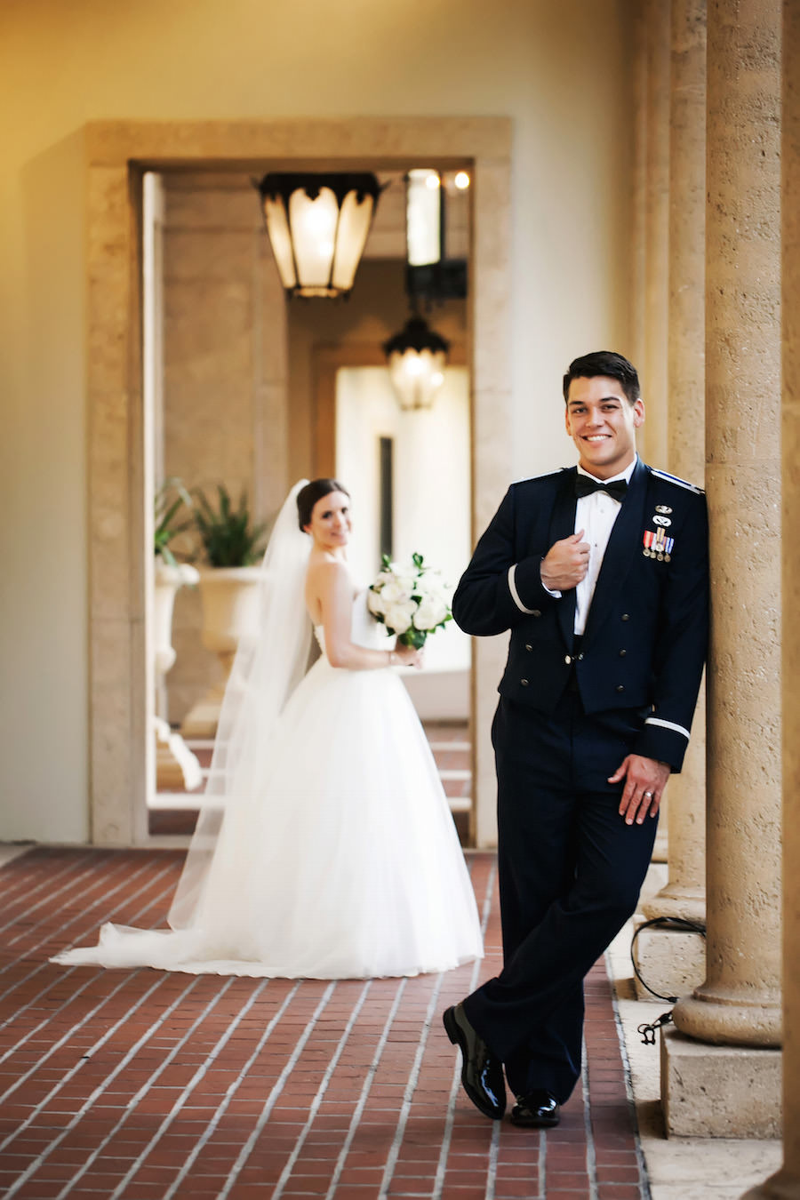 Bride and Groom Wedding Portrait in Military Dress | St. Petersburg Wedding Photographer Limelight Photography