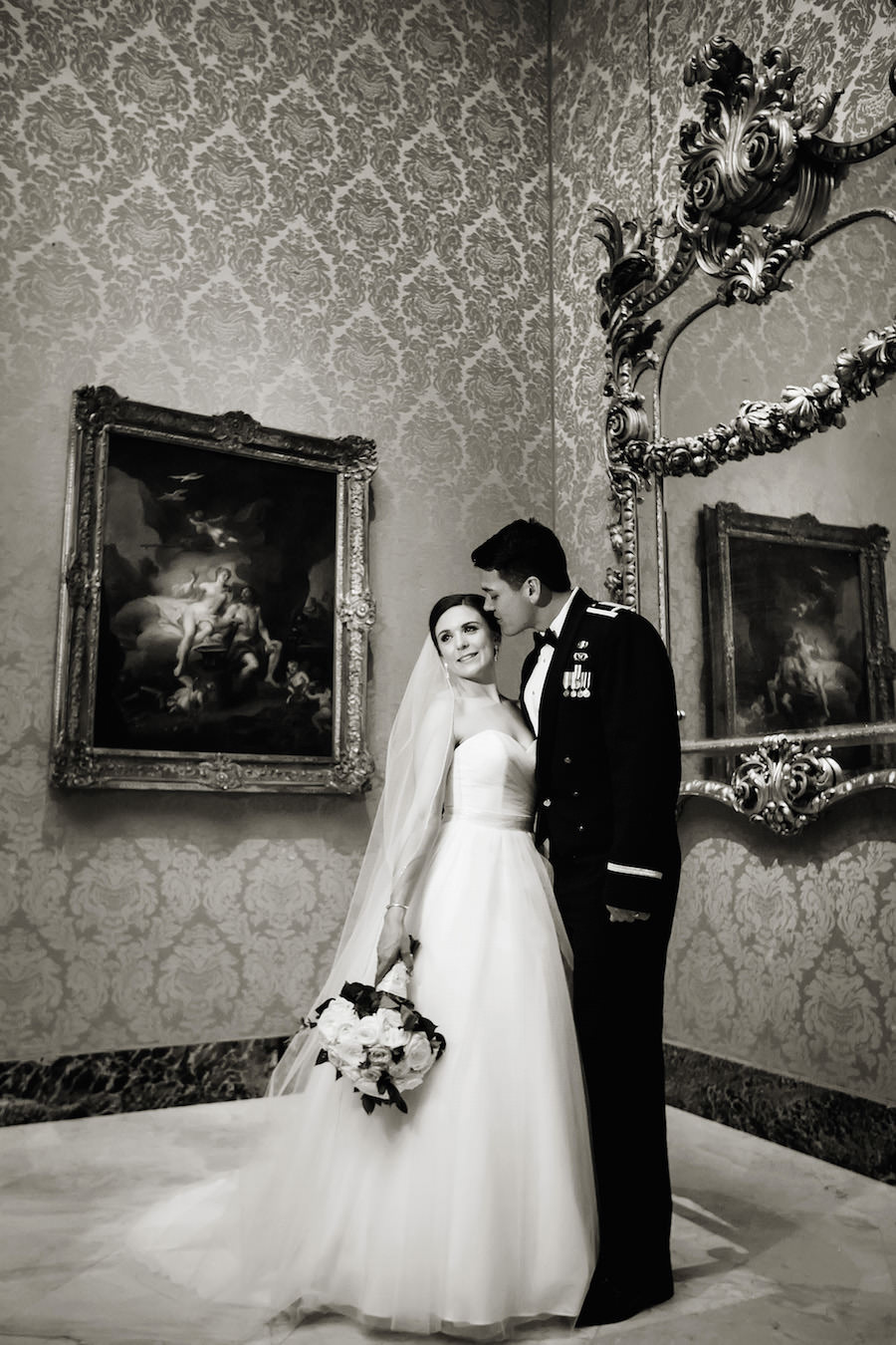 Military Bride and Groom Wedding Portrait at Unique Downtown St. Pete Wedding Venue Museum of Fine Arts Wedding Venue | St. Petersburg Wedding Photographer Limelight Photography