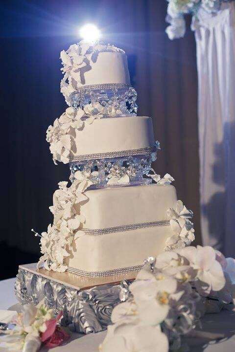 Four Tiered Silver and White Wedding Cake with Sugar Flowers and Intricate Detail with Rhinestone Border | Tampa Wedding Cake A Piece of Cake