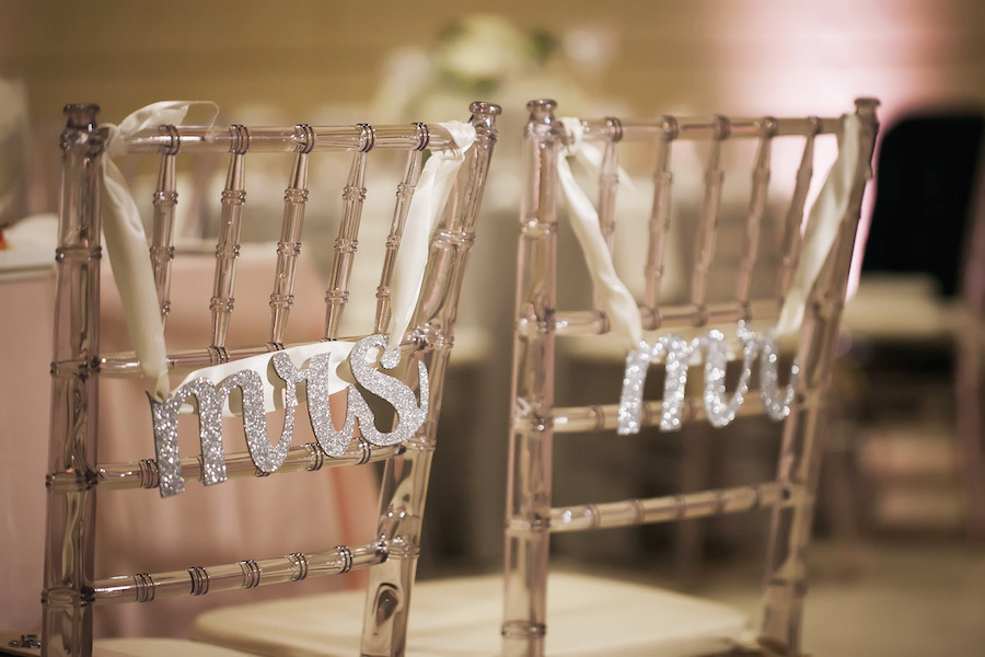 Lucite Clear Acrylic Chiavari Wedding Chairs with Silver Glitter Mr. and Mrs. Signs | Modern Wedding Reception Decor