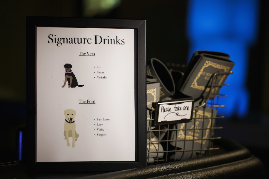 Personalized Signature Drink Menu Featuring Couple's Dog's Personalities | Cute Wedding Signature Drink Ideas