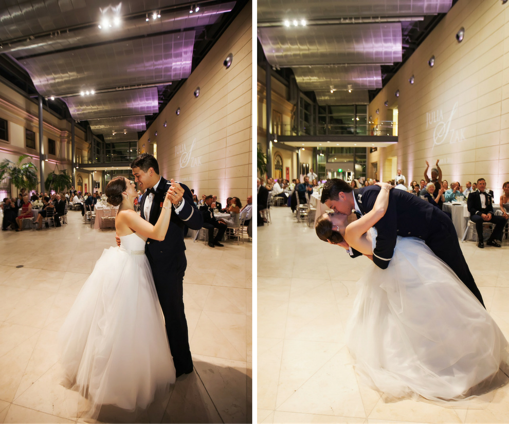 Bride and Groom First Dance Wedding Day Portrait | Modern, Downtown St. Peter Wedding Reception Venue MOFA | St. Petersburg Wedding Photographer Limelight Photography