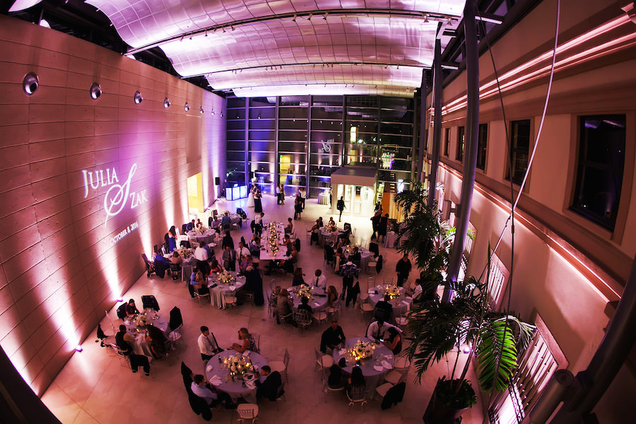 Modern Wedding Reception with Pink Uplighting and Personalized GOBO Monogram at St. Pete Wedding Venue Museum of Fine Art | St. Petersburg Wedding Photographer Limelight Photography