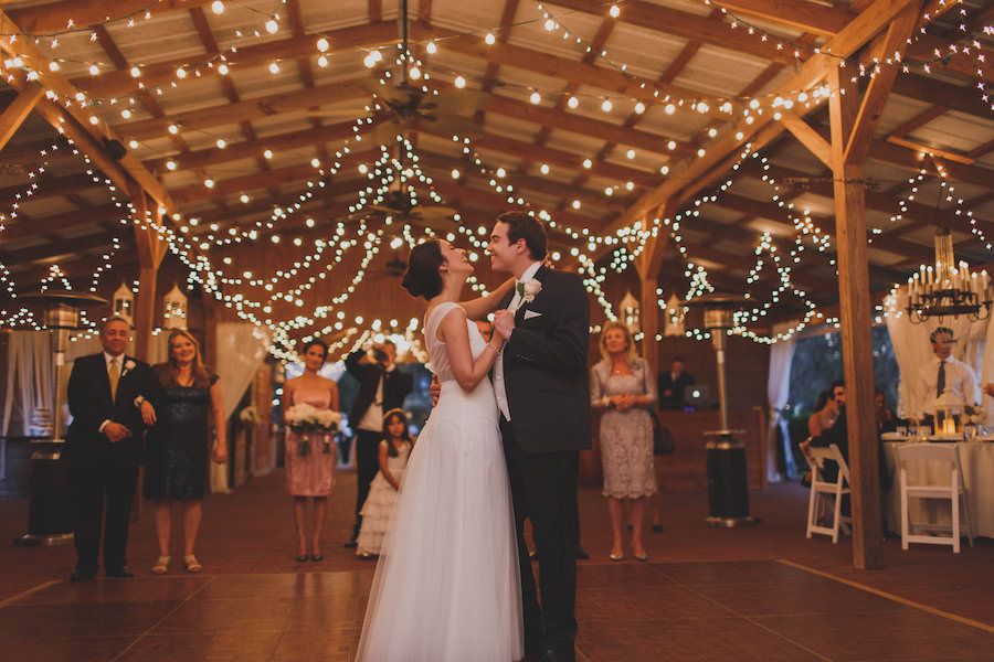 Bride and Groom First Dance at Outdoor, Barn Wedding Reception | Tampa Bay Wedding Venue Cross Creek Ranch