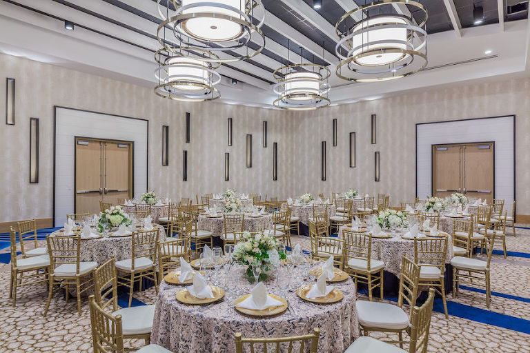 Ballroom Wedding Reception Decor with Rustic Wooden Chairs at Clearwater Beach Wedding Venue Wyndham Grand | Clearwater Beach Wedding Venue | Wyndham Grand Clearwater Beach