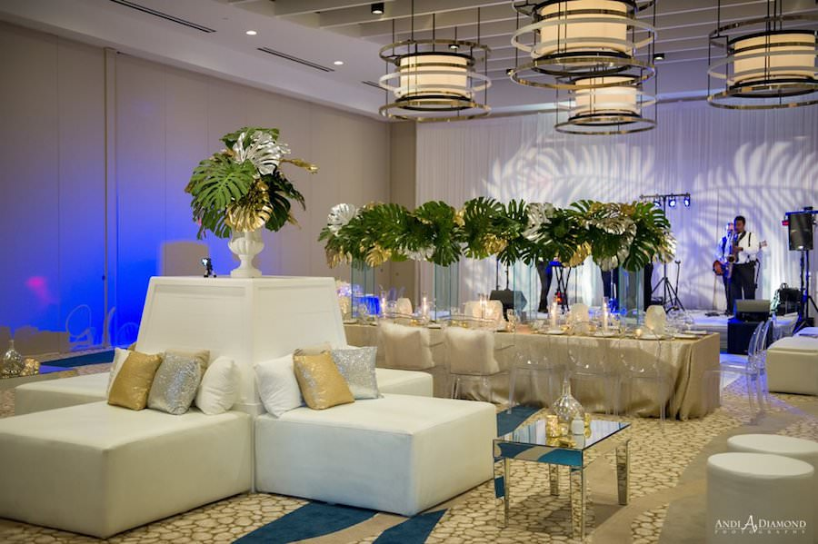 Ballroom Wedding Reception Decor with Lounge Area and Protea Leaf Decor at Clearwater Beach Wedding Venue Wyndham Grand | Clearwater Beach Wedding Venue | Wyndham Grand Clearwater Beach