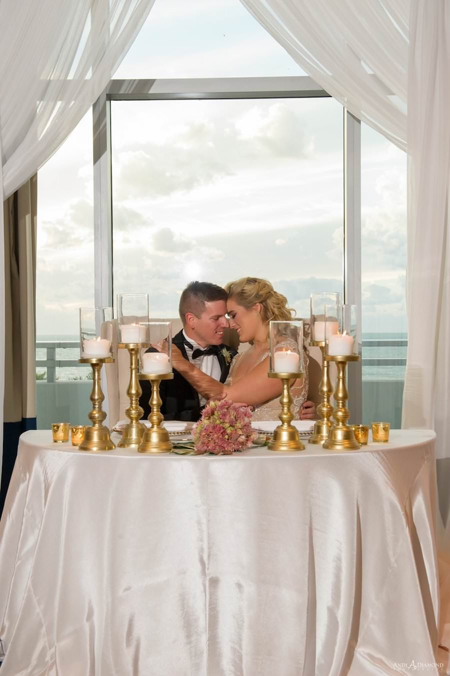 Bride and Groom Wedding Reception Portrait at Sweetheart Table | Clearwater Beach Wedding Venue | Wyndham Grand Clearwater Beach