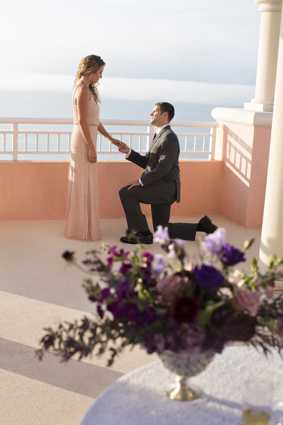 Groom on Bended Knee | Surprise Engagement Proposal at the Hyatt Regency Clearwater Beach | Clearwater Wedding Photographer Djamel Photography