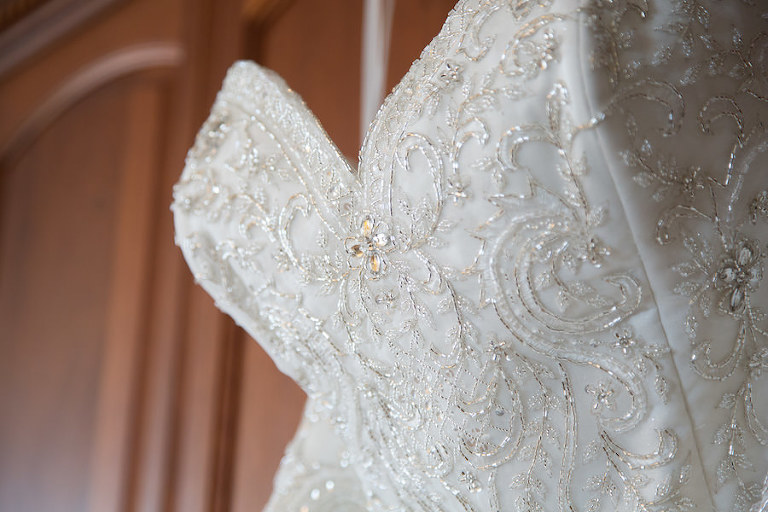 Ivory, Beaded, Strapless Wedding Dress with Sweetheart Neckline