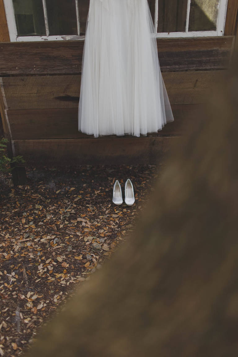 Ivory Anna Kara Wedding Dress and Ivory Bridal Wedding Shoes for Rustic Outdoor Wedding