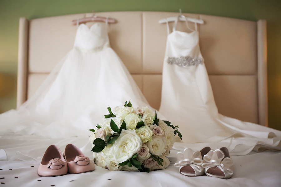 Wedding Ceremony and Reception Bridal Gown Wedding Dresses with Kate Spade Wedding Shoes and Ivory and Light Pink Rose Bouquet