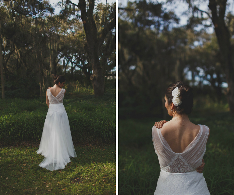 Outdoor, Bridal Wedding Portrait in White Anna Kara Low Open Back Wedding Dress | Elegant Flowing Wedding Dress Inspiration and Ideas