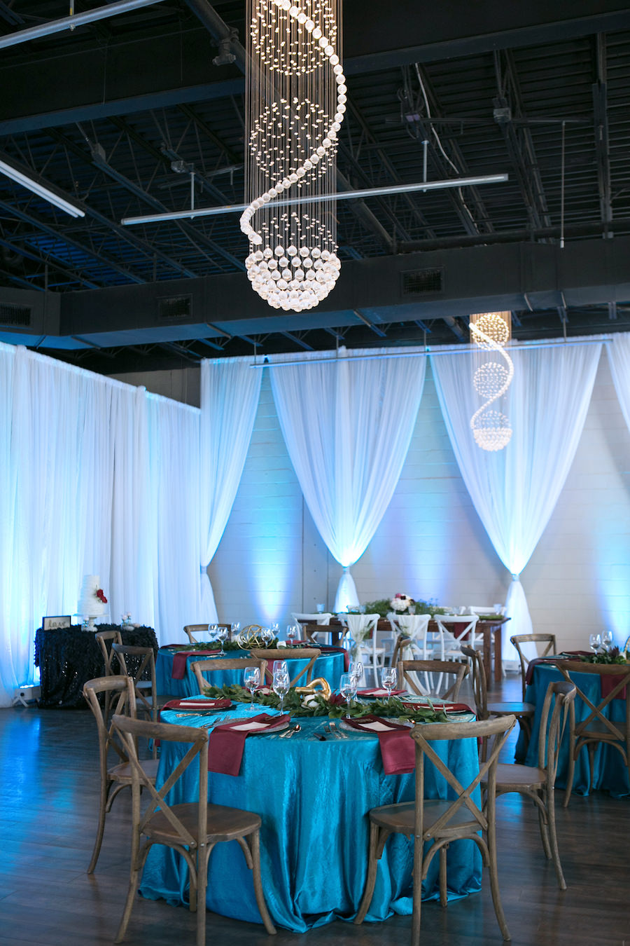 French Country Chairs with Teal Specialty Linens and White Draping | Modern Wedding Reception Decor Ideas and Inspiration | Tampa Wedding Venue Ivy Astoria | Chair Rentals A Chair Affair
