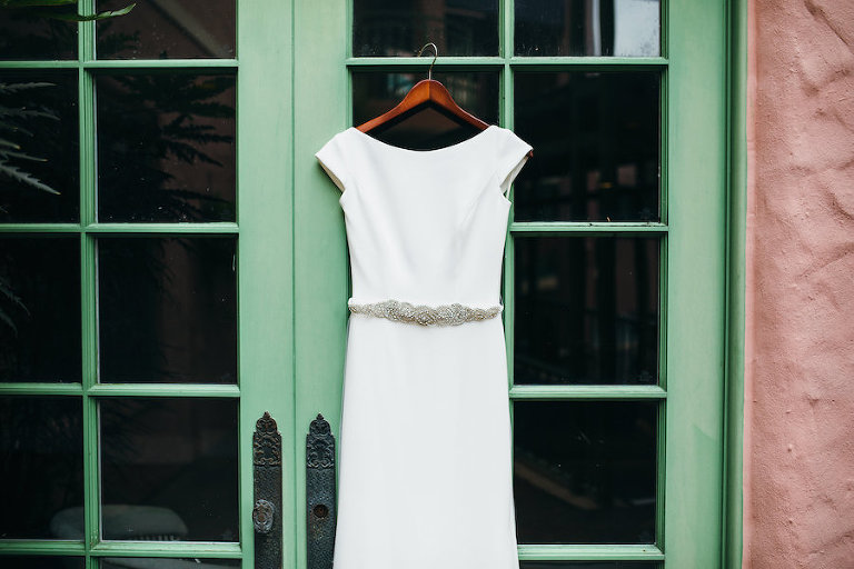 Backless, Ivory, Sheath Mikaella Wedding Dress with Rhinestone Belt