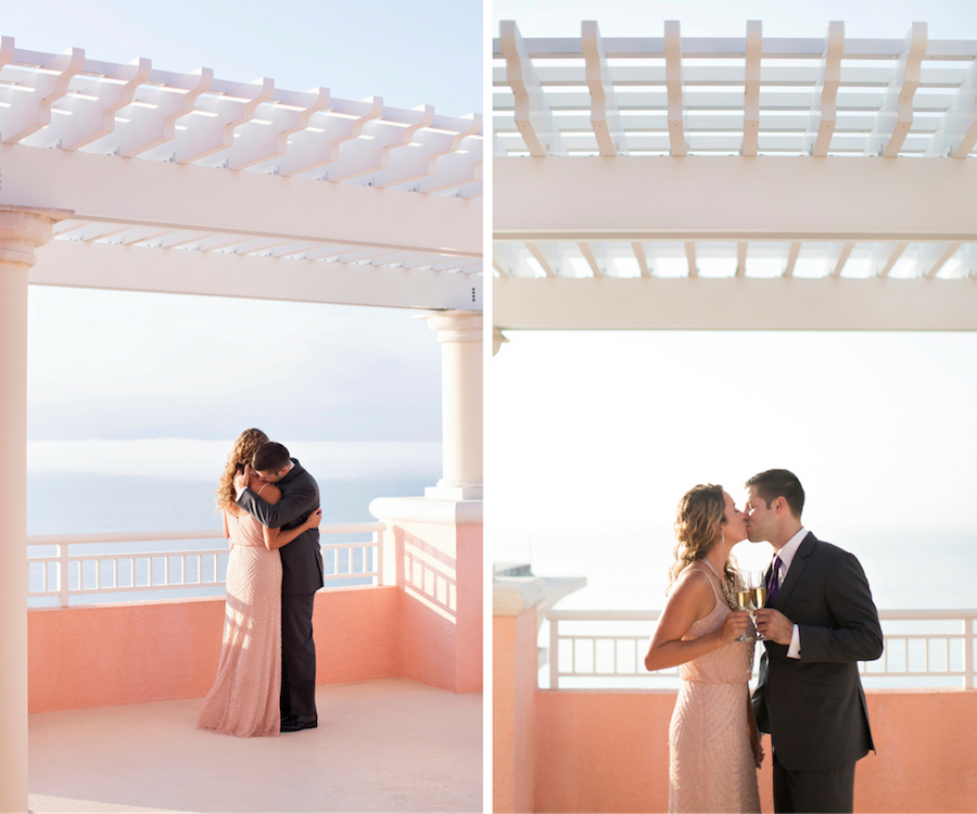 Bride and Groom Wedding Portrait Kiss | Surprise Engagement Proposal at the Hyatt Regency Clearwater Beach | Clearwater Wedding Photographer Djamel Photography