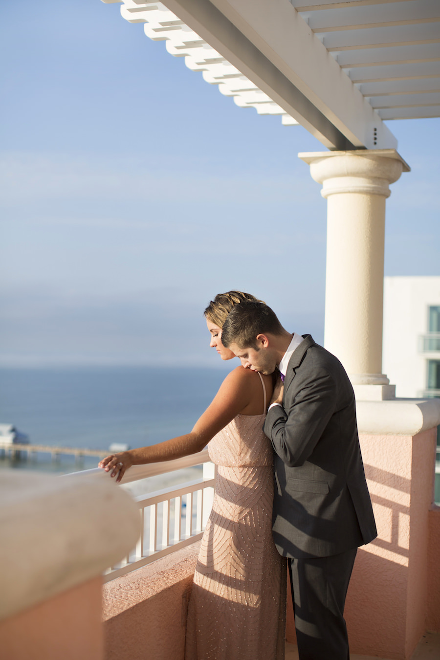 Bride and Groom Wedding Portrait | Surprise Rooftop Engagement Proposal at the Hyatt Regency Clearwater Beach | Clearwater Wedding Photographer Djamel Photography