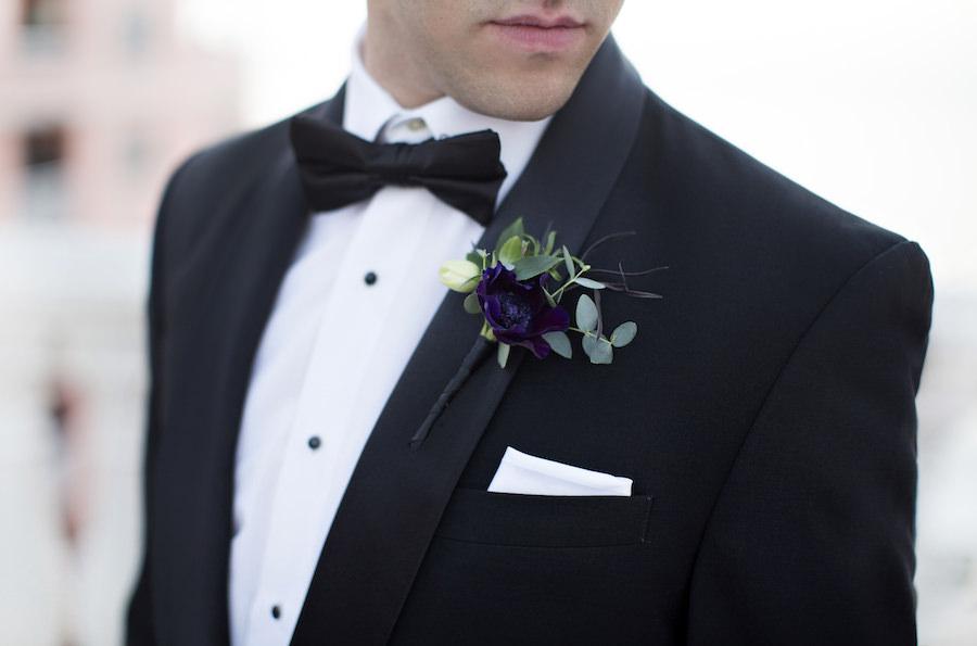 Black Groom's Wedding Tux with Deep Dark Purple Boutonnière | Groom Attire Ideas and Inspiration | Clearwater Wedding Photographer Djamel Photography