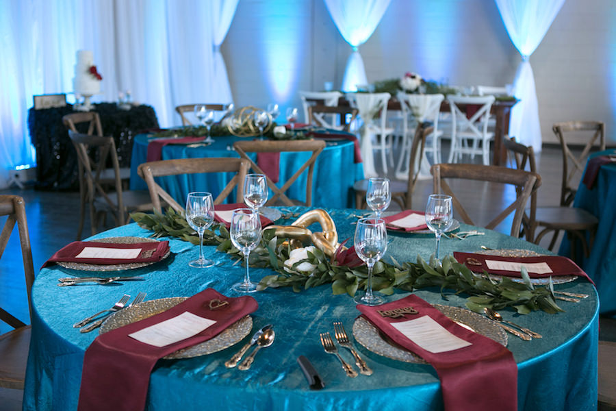 French Country Chairs with Teal Specialty Linens and Gold Centerpiece | Boho Modern Wedding Reception Decor Ideas and Inspiration | Tampa Wedding Venue Ivy Astoria | Chair Rentals A Chair Affair