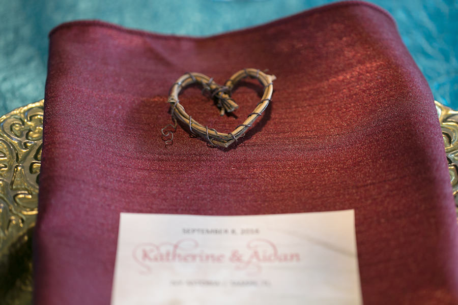 Heart Wedding Reception Table Accent on Red Burgundy Napkin and Gold Vintage Charger | Boho Chic Wedding Ideas and Inspiration