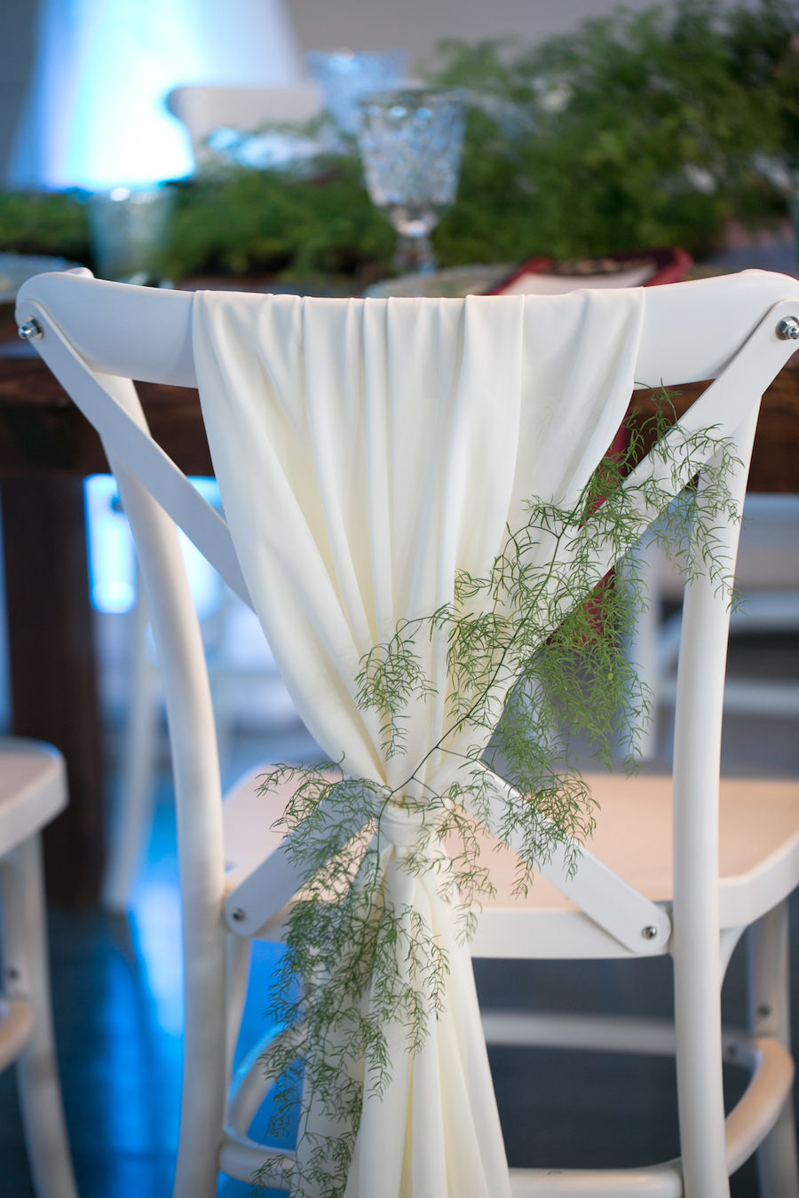 White French Country Chairs with White Draping on Back | Modern Wedding Reception Decor Ideas and Inspiration | Tampa Wedding Chair Rentals A Chair Affair