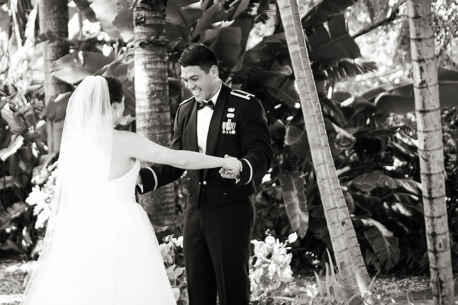 Military Bride and Groom First Look Wedding Portrait |St. Petersburg Wedding Photographer Limelight Photography