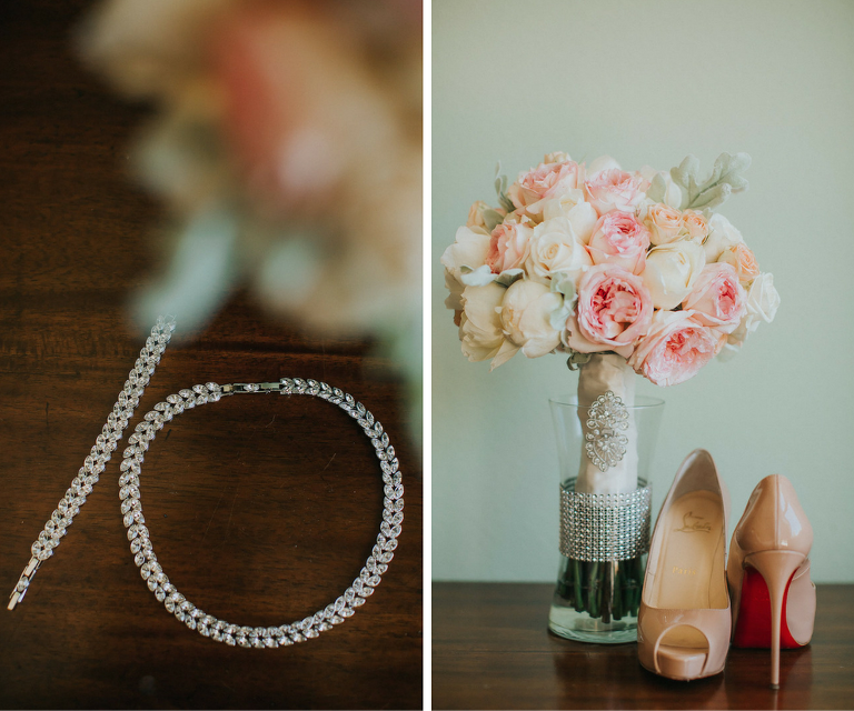 Diamond Wedding Necklace Jewelry and Bracelet and Nude Christian Louboutin Wedding Shoes with Peach, Pink Blush and White Bouquet