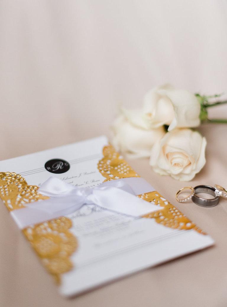 Elegant Gold Lace and White Wedding Invitation
