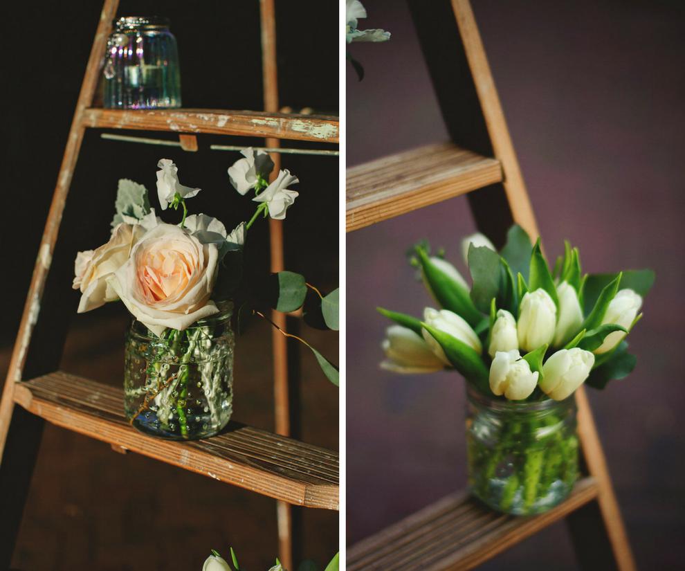 Blush Roses and Ivory Tulip Wedding Ceremony Decor on Ladder | St. Petersburg Wedding Florist Iza's Flowers